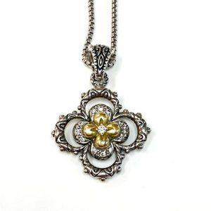 Barbara Bixby Sterling 18k and Diamond Flower pend